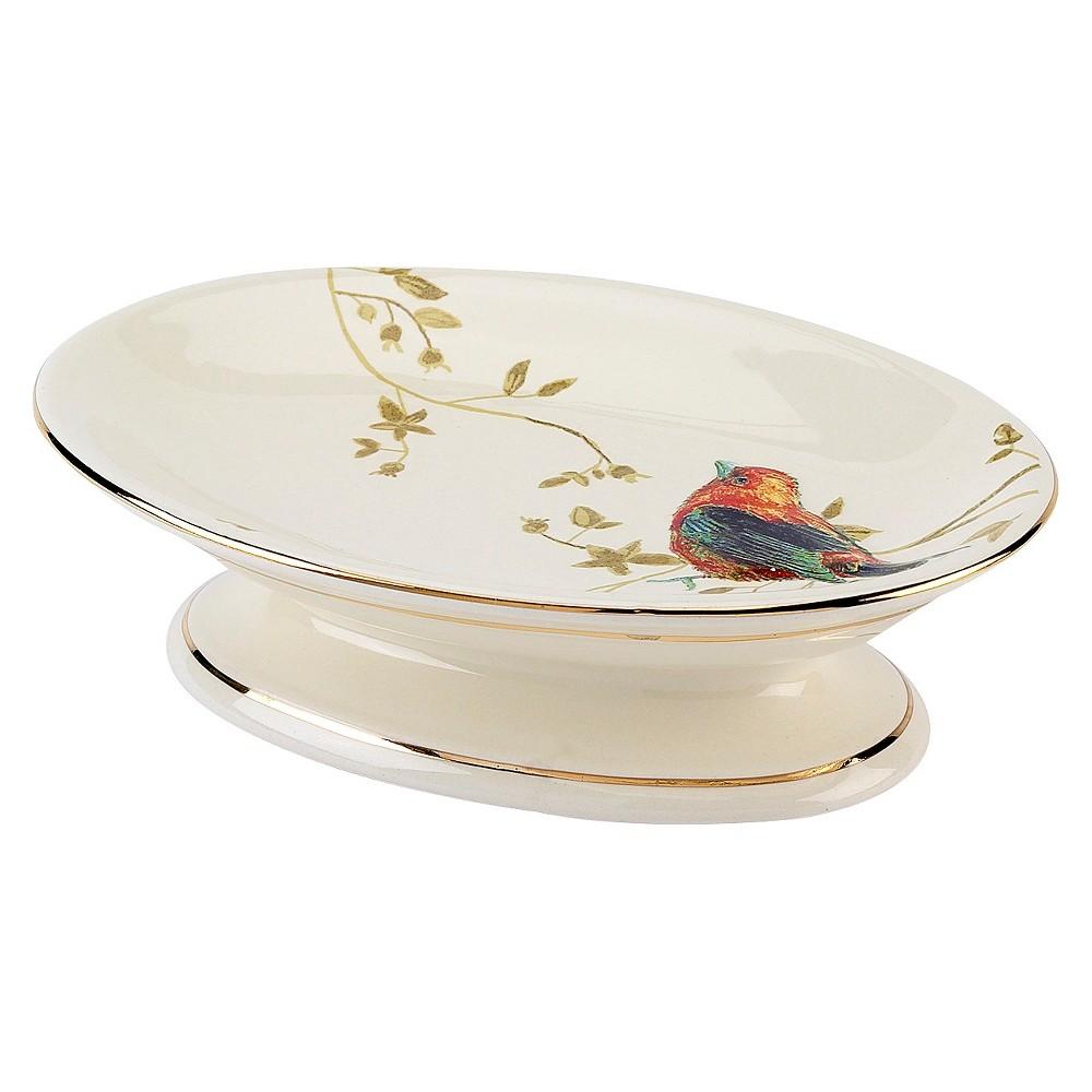 Avanti Gilded Birds Soap Dish - Ivory, Beige