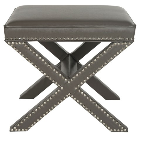 Palmer Leather Ottoman Gray - Safavieh® - image 1 of 4