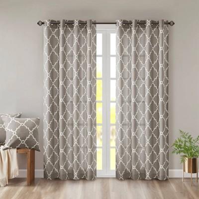 "84""x50"" Sereno Fretwork Print Light Filtering Curtain Panel Gray"