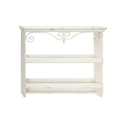 """33"""" x 28"""" Rectangular Distressed White Wood Wall Shelf with 2 Shelves Towel Rack and Iron Scrollwork - Olivia & May"""