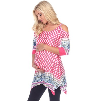 Maternity Plus Printed Cold Shoulder Tunic - White Mark