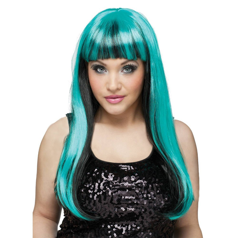 Image of Black and Neon Green Women's Wig