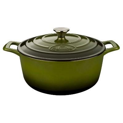 La Cuisine LC 5250 Round 6.5 Qt. Cast Iron Casserole - Green