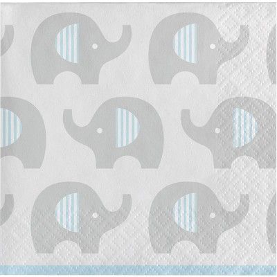 48ct Little Peanut Boy Elephant Beverage Napkins Blue