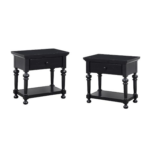 (Set of 2) Drawer Night Stand in Antique Black - Comfort Pointe - image 1 of 3