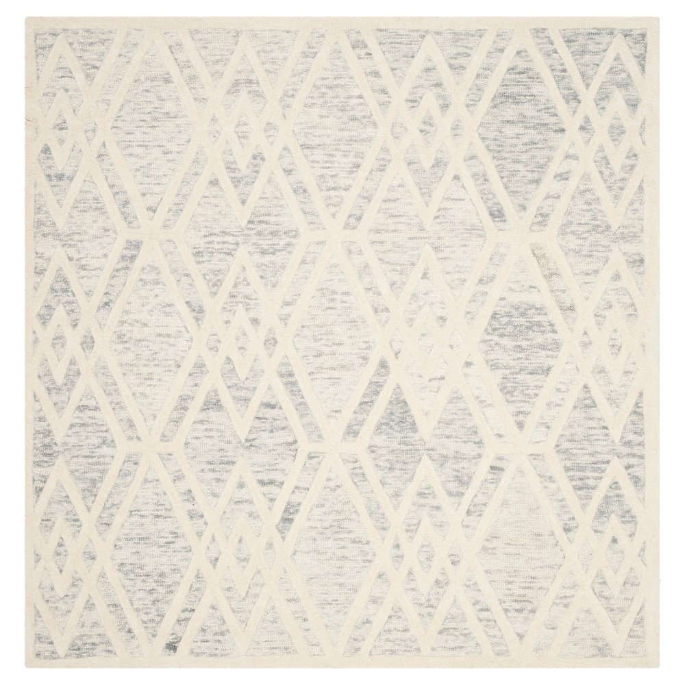 Gray/Ivory Abstract Tufted Square Area Rug - (6'x6') - Safavieh