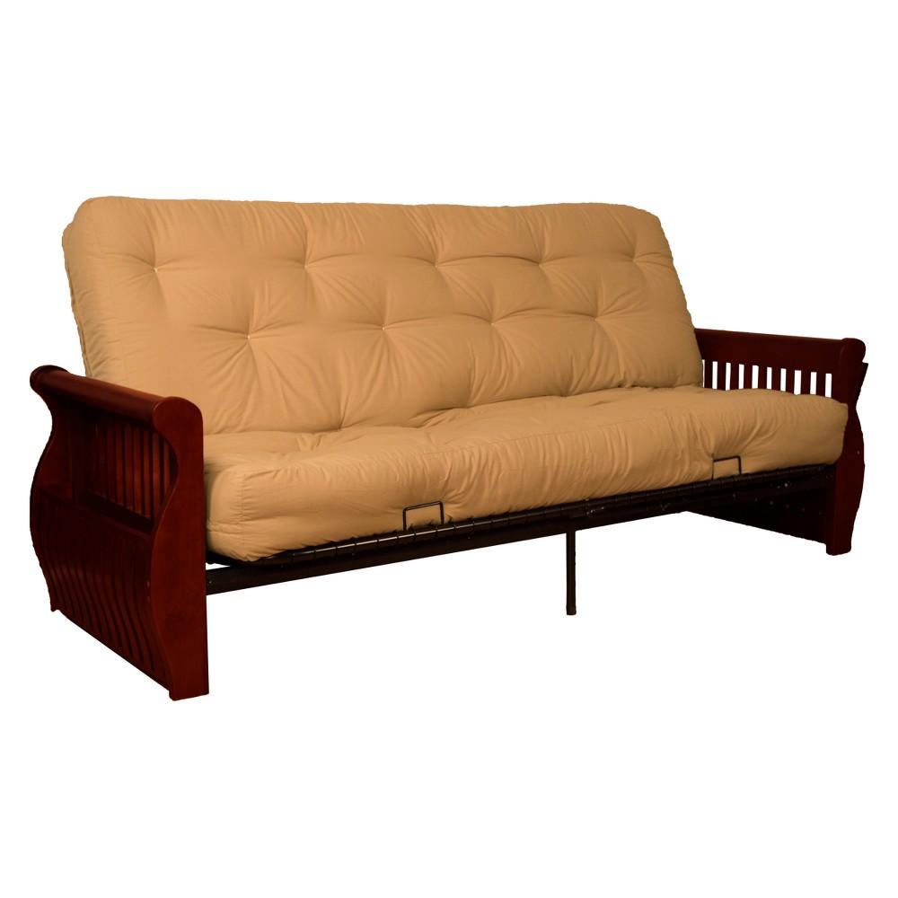 Storage Arm 8 Cotton/Foam Futon Sofa Sleeper Mahogany Wood Finish Khaki (Green) - Epic Furnishings