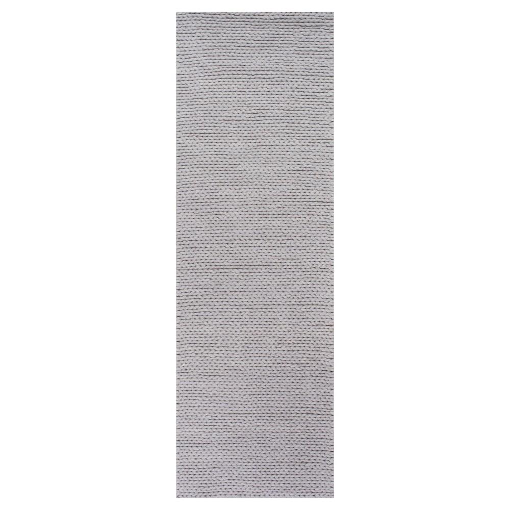 Sterling Gray Solid Braided Runner - (2'6x8') - nuLOOM, Light Gray