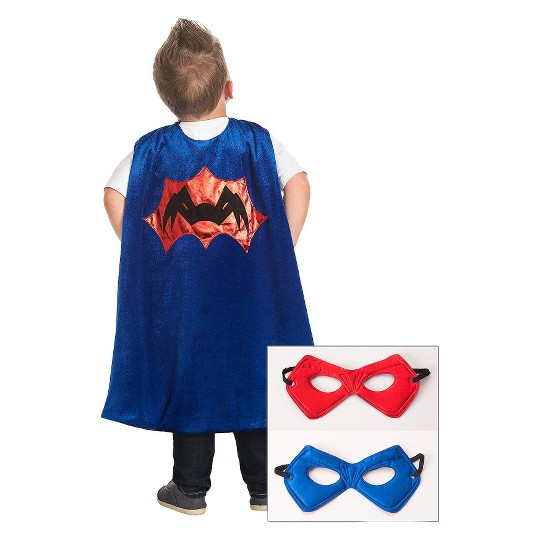 Little Adventures Boys' Spider Cape with Power Mask - Red/Blue image number null