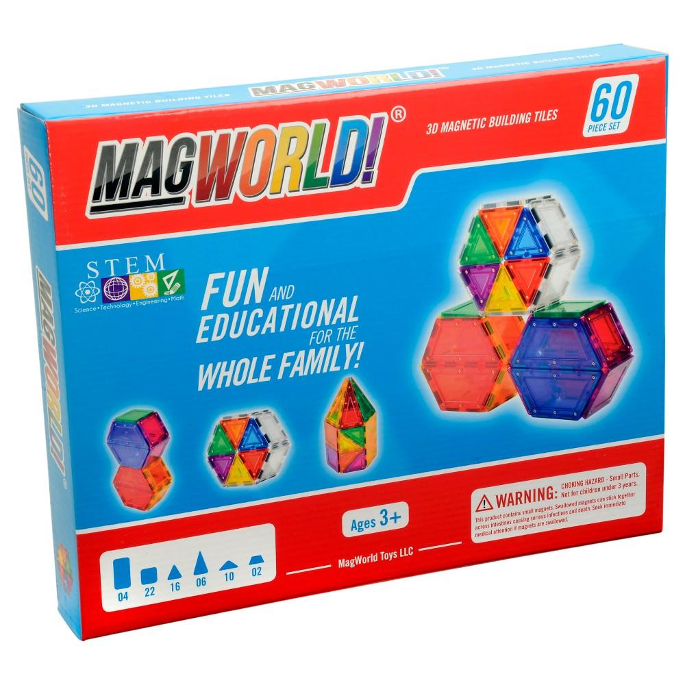 MagWorld Toys Rainbow 3D Magnetic Building Tiles - 60 Piece