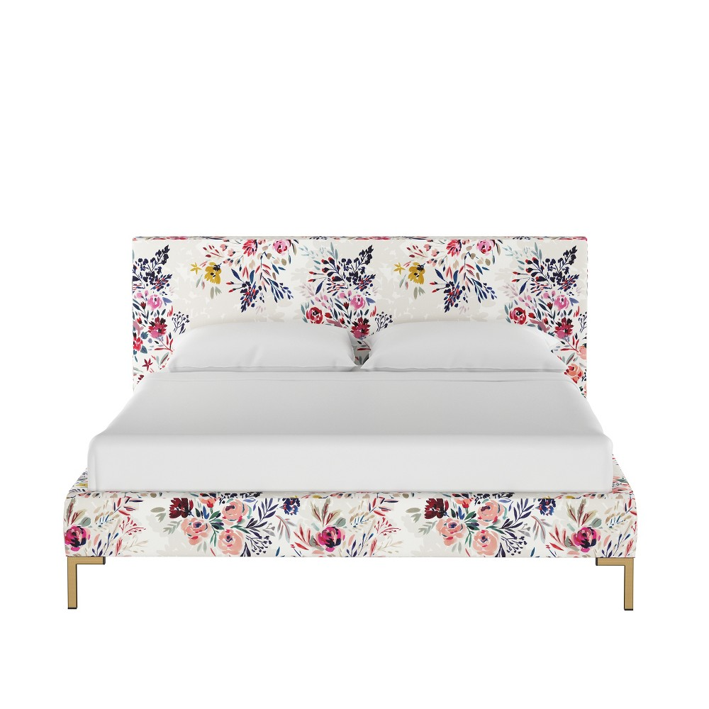 King Daisy Platform Bed with Brass Metal Y Legs Multi Floral - Cloth & Co.