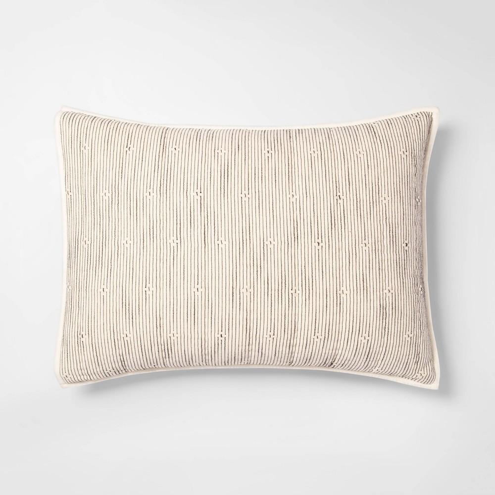 King Texture Stripe Pillow Sham Neutral/Black - Opalhouse