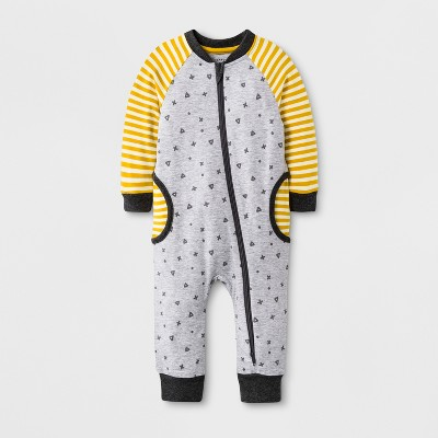 Baby Boys' Long Sleeve Romper - Cat & Jack™ Gray/Yellow Newborn