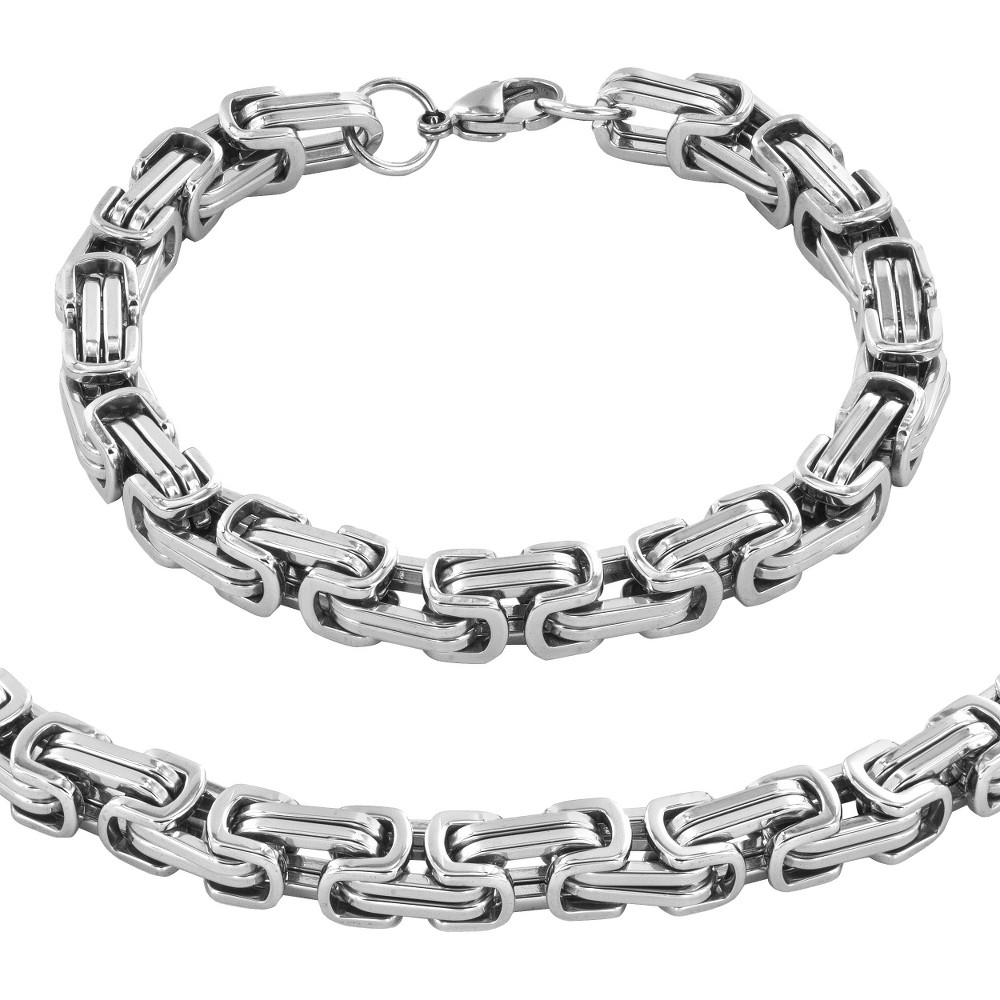 Men's Stainless Steel Byzantine Chain Necklace and Bracelet Set, Silver