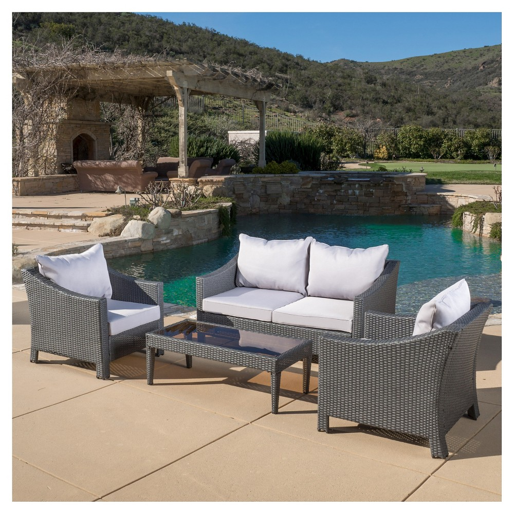 Antibes 4pc Wicker Patio Chat Set with Cushions - Gray - Christopher Knight Home, Grey