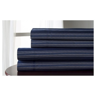 Regent Stripe 100% Cotton Print Sheet Set (King)Navy