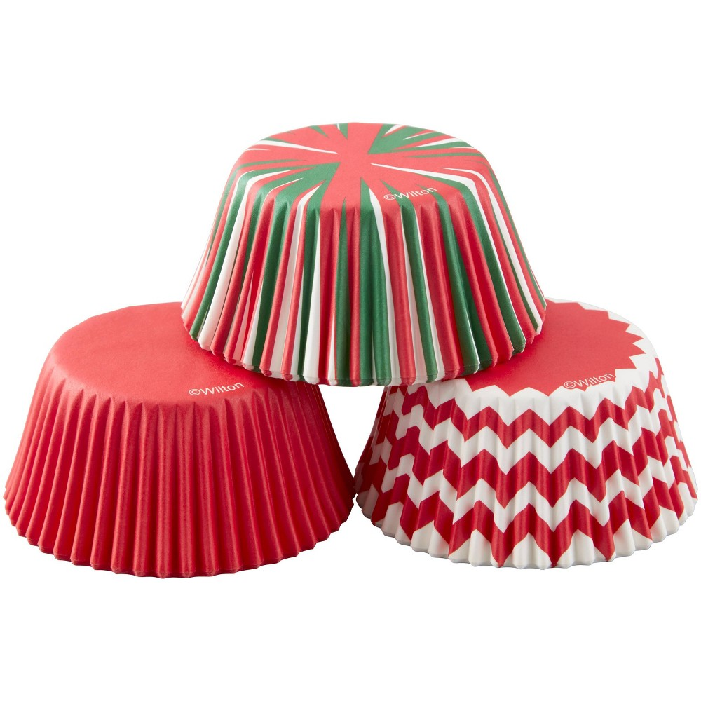 Image of Wilton 75ct Plastic Striped Baking Cups Red, Red White Green