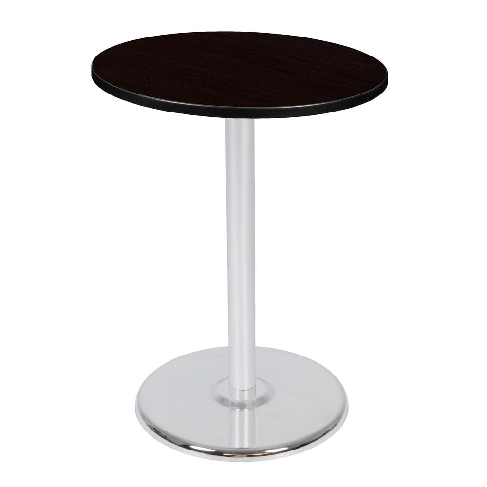 "Image of ""30"""" Via Cafe High Round Platter Base Table Espresso/Chrome - Regency, Brown"""