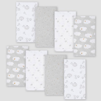 Gerber Baby 8pk Sheep Burpcloth - White