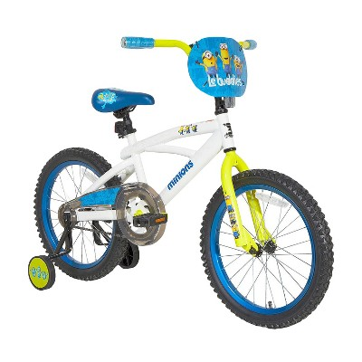 "Minions 18"" Kids' Bike with Training Wheels - White/Blue"