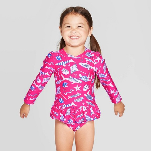 Toddler Girls' One Piece Swimsuit - Cat & Jack™ Magenta - image 1 of 3