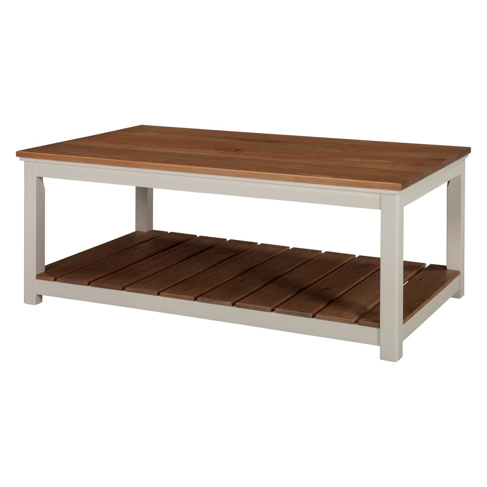 Savannah 45W Coffee Table Ivory With Natural Wood Top - Bolton Furniture