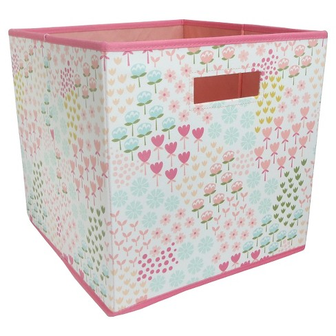 """13""""x13"""" Floral Fabric Cube Toy Storage Bin - Pillowfort™ - image 1 of 1"""