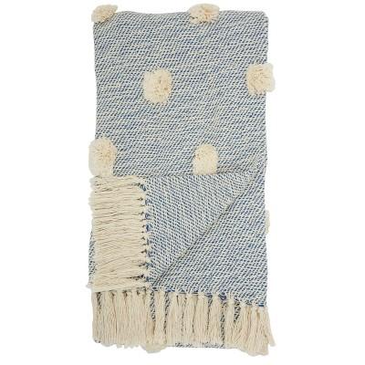 Dot Woven Throw Blanket Blue - Mina Victory