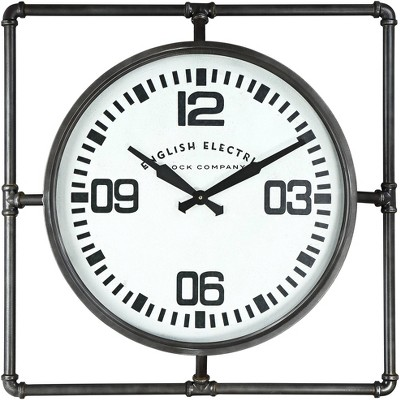 "River Parks Studio English Electric 24 3/4"" Wide Square Metal Wall Clock"