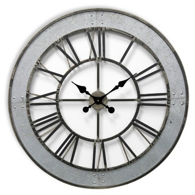 Round Roman Numeral Wall Clock with Faux Rivet Detail Matte Gray - StyleCraft