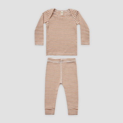 Q by Quincy Mae Baby 2pc Striped Rib Top & Bottom Set - Ivory/Clay Brown 6-12M