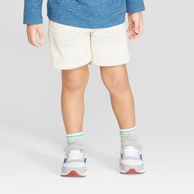 Toddler Boys' Novelty Texture Chino Shorts - Cat & Jack™ Cream/Blue 12M