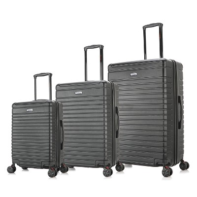 InUSA Deep Lightweight 3pc Hardside Spinner Luggage Set - Black