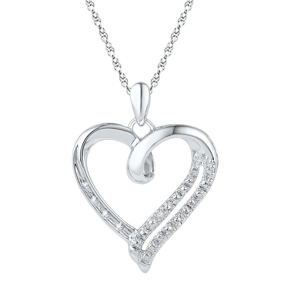 Diamond Accent Prong Set Heart Pendant in Sterling Silver (IJ-I2-I3) (18), Women's, White