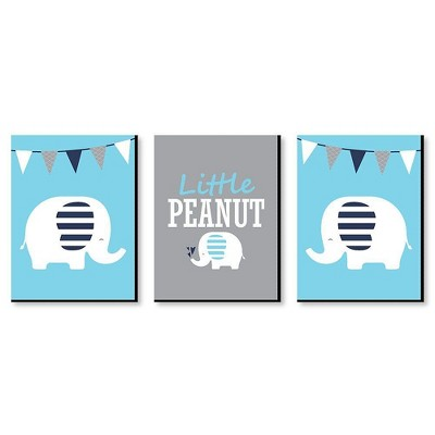 Big Dot of Happiness Blue Elephant - Baby Boy Nursery Wall Art and Kids Room Decorations - Gift Ideas - 7.5 x 10 inches - Set of 3 Prints