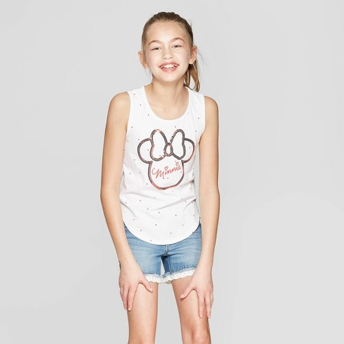 Girls' Minnie Mouse Sequin Tank Top - White - image 1 of 3