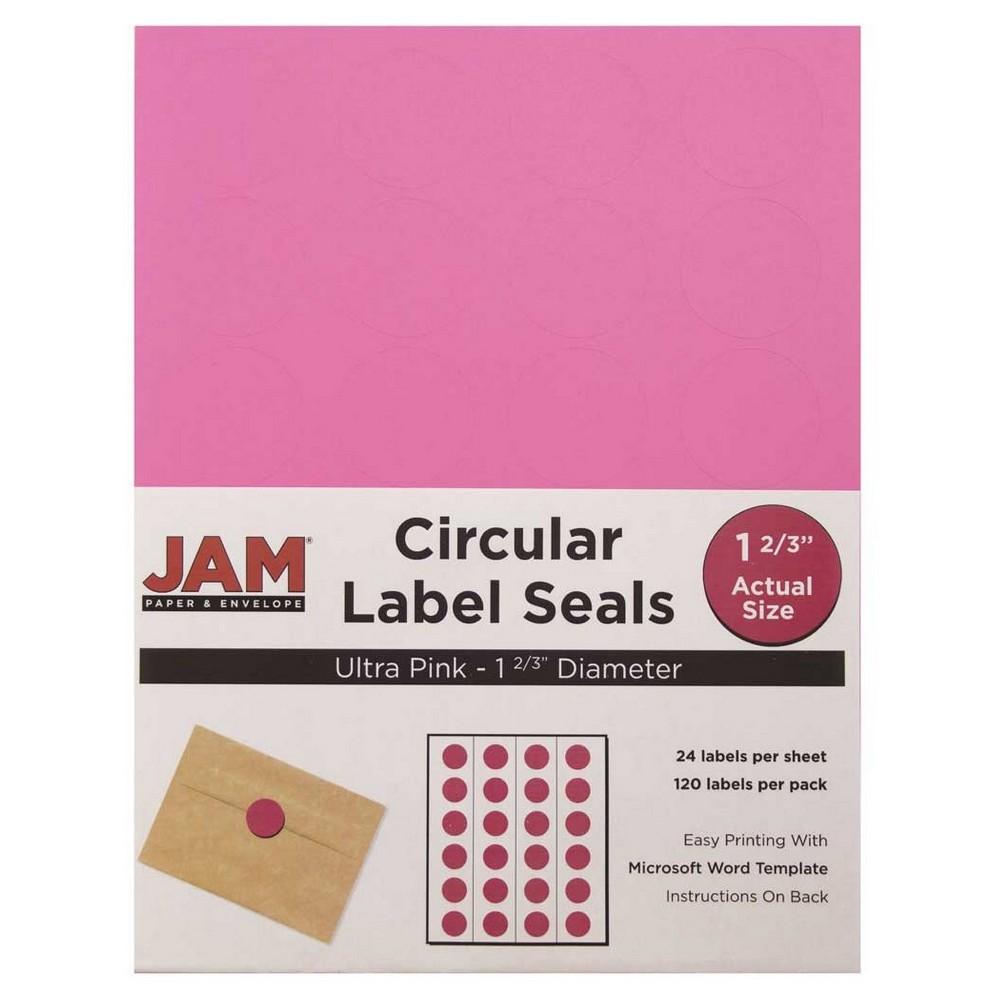 JAM Circle Sticker Seals 1 2/3 120ct - Pink