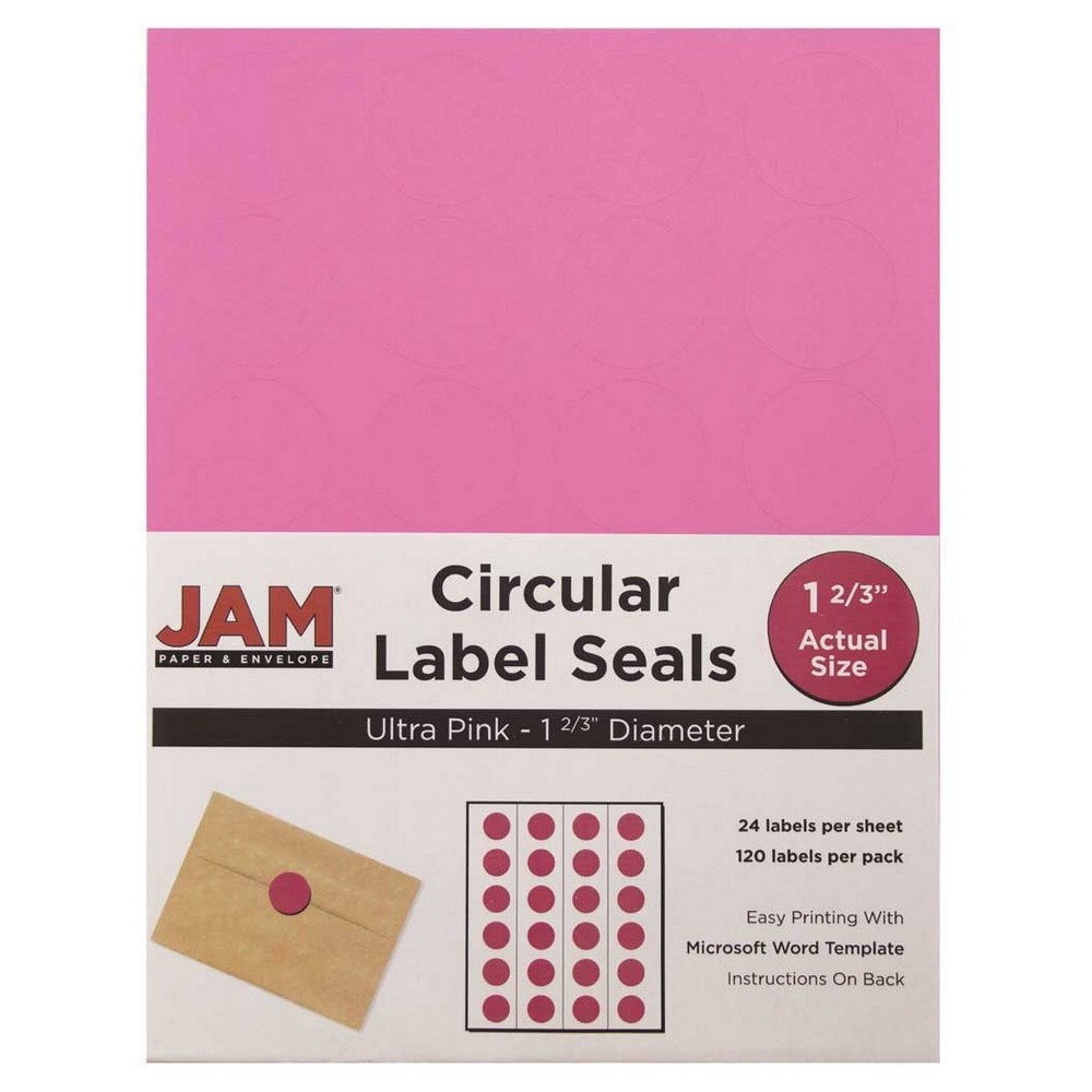 Jam Paper Circle Sticker Seals 1 2/3 120ct - Pink Jam Paper Round Circle Label Sticker Seals measure 1 2/3 inches in diameter and are sold on sheets of 24 labels. Each pack contains 5 sheets for a total of 120 labels per pack! These labels feature a light, soft, and inviting baby blue color that will give a peaceful and calm look to your mail. These labels are great for reinforcing envelopes, creating small price tags for yard sales, marking mail or items with initials, and more! Compatible with most printers, these labels can be customized in your own office or home. Additionally, they are easy to write on with most kinds of pens and markers. Try these round labels for your home or office needs. Color: Pink. Age Group: Adult.