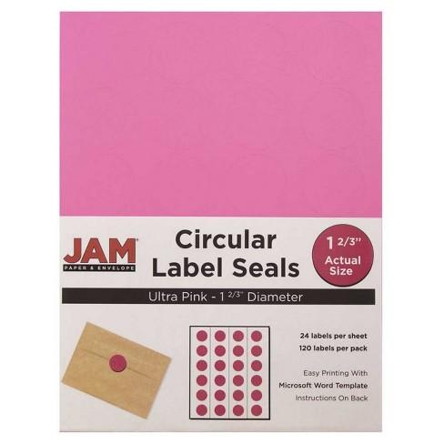 """JAM Paper® Circle Sticker Seals 1 2/3"""" 120ct - Pink - image 1 of 3"""