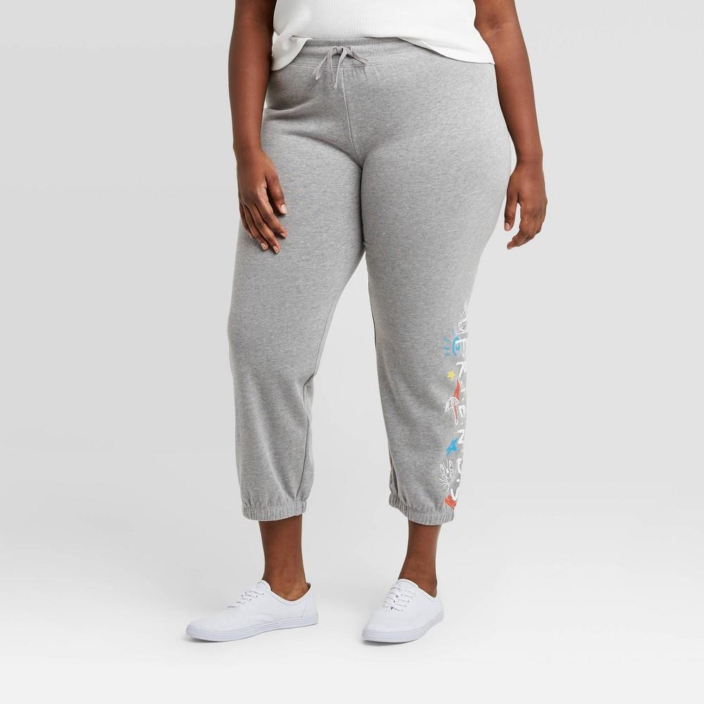 Women 39 S Friends Plus Size Jogger Pants Gray 1x