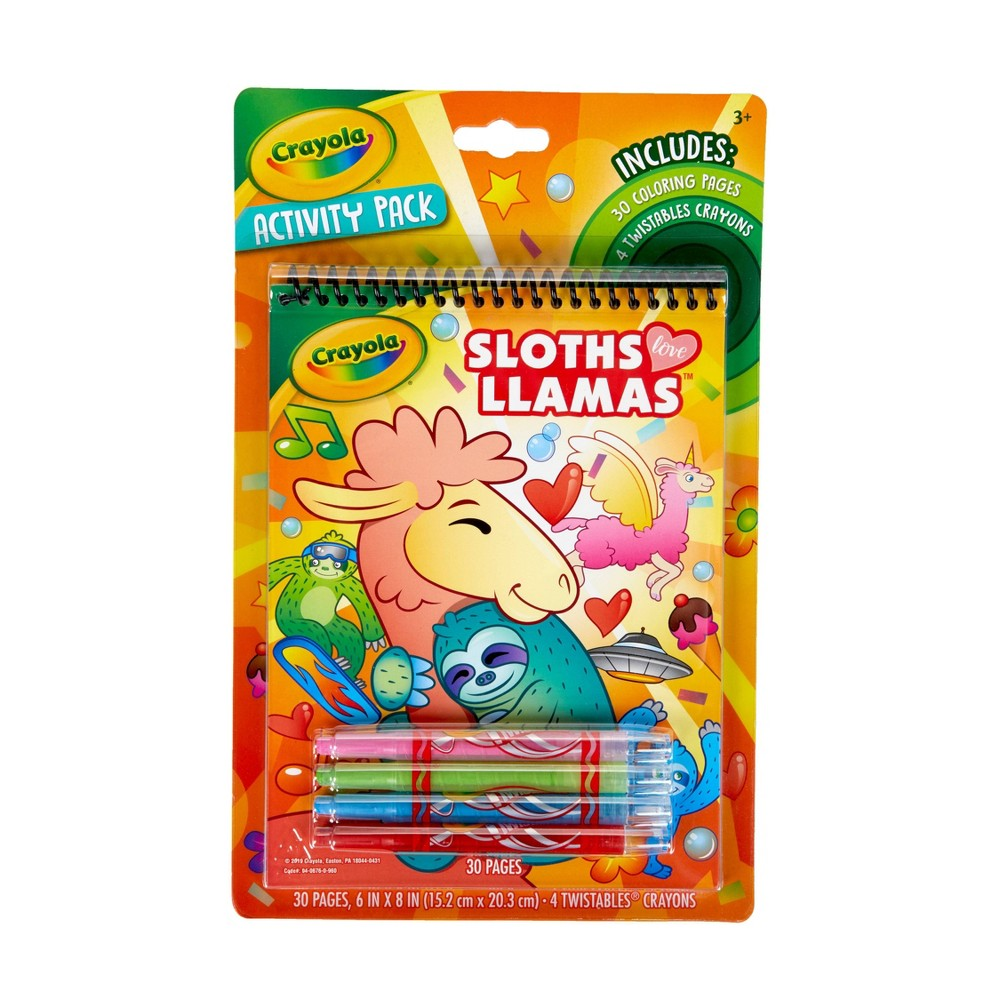 Image of Crayola 30pg Sloths Love Llamas Activity Pack (with 4 Twistable Crayons)