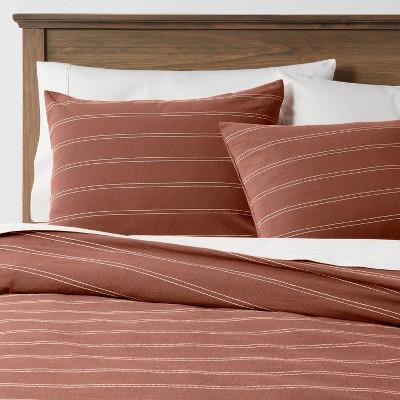 3pc King Simple Woven Stripe Duvet & Sham Set Rust - Threshold™