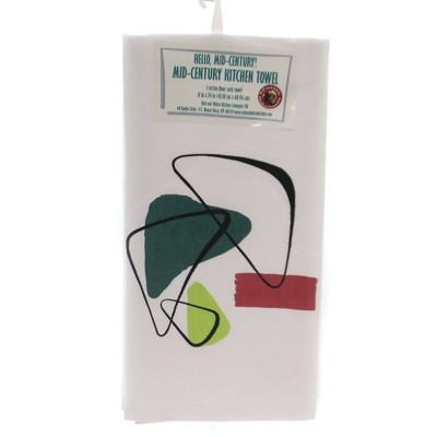 """Tabletop 24.0"""" Boomerang Flour Sack Towel 100% Cotton Mid-Century Red And White Kitchen Company  -  Kitchen Towel"""