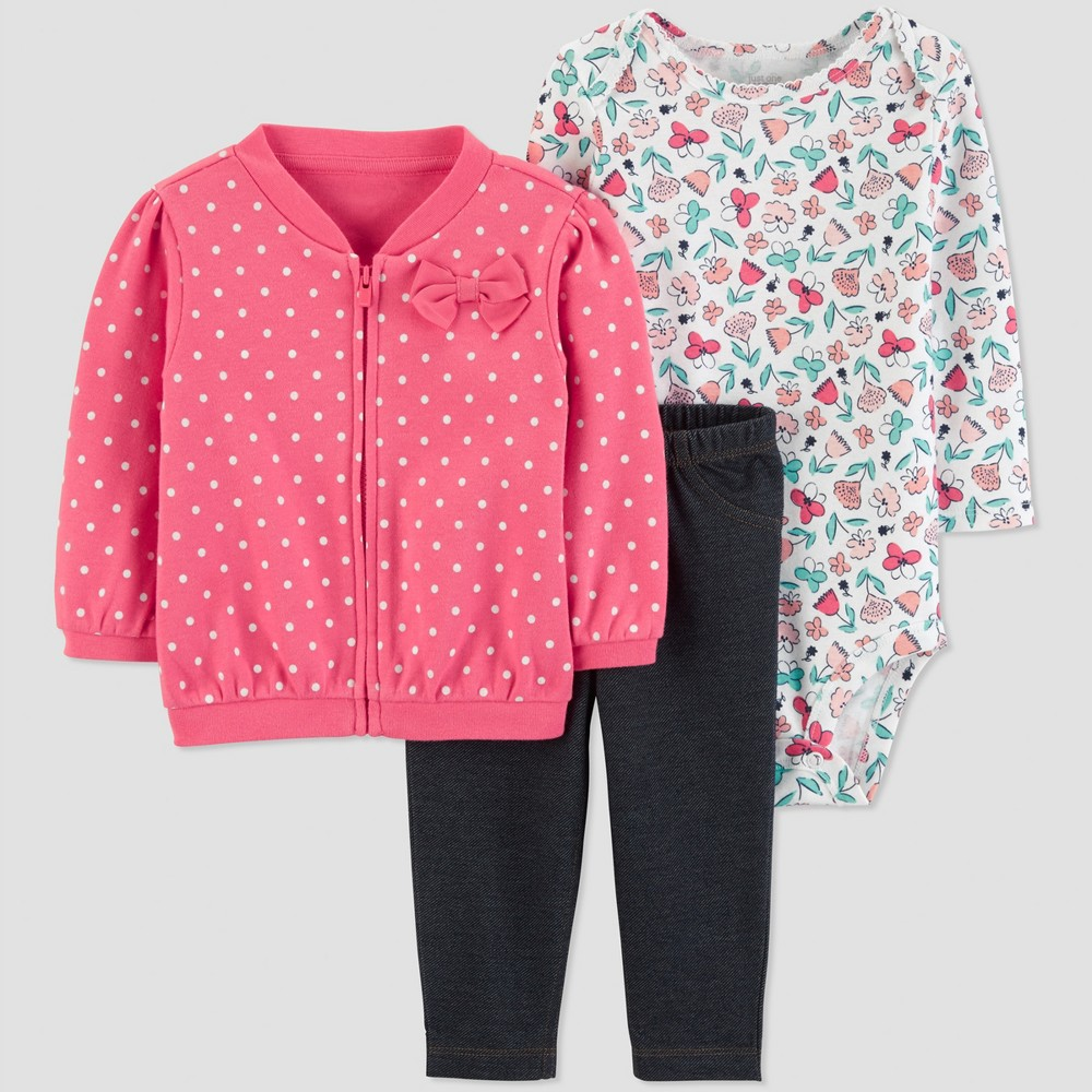 Baby Girls' 3pc Polka Dots Floral Cotton Cardigan Set - Just One You made by carter's Pink 9M