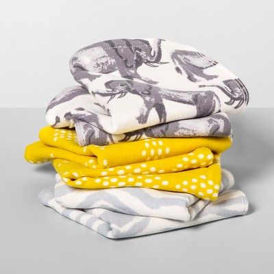 6pk Elephant/Zebra Wash Pack Gray/Yellow - Opalhouse™
