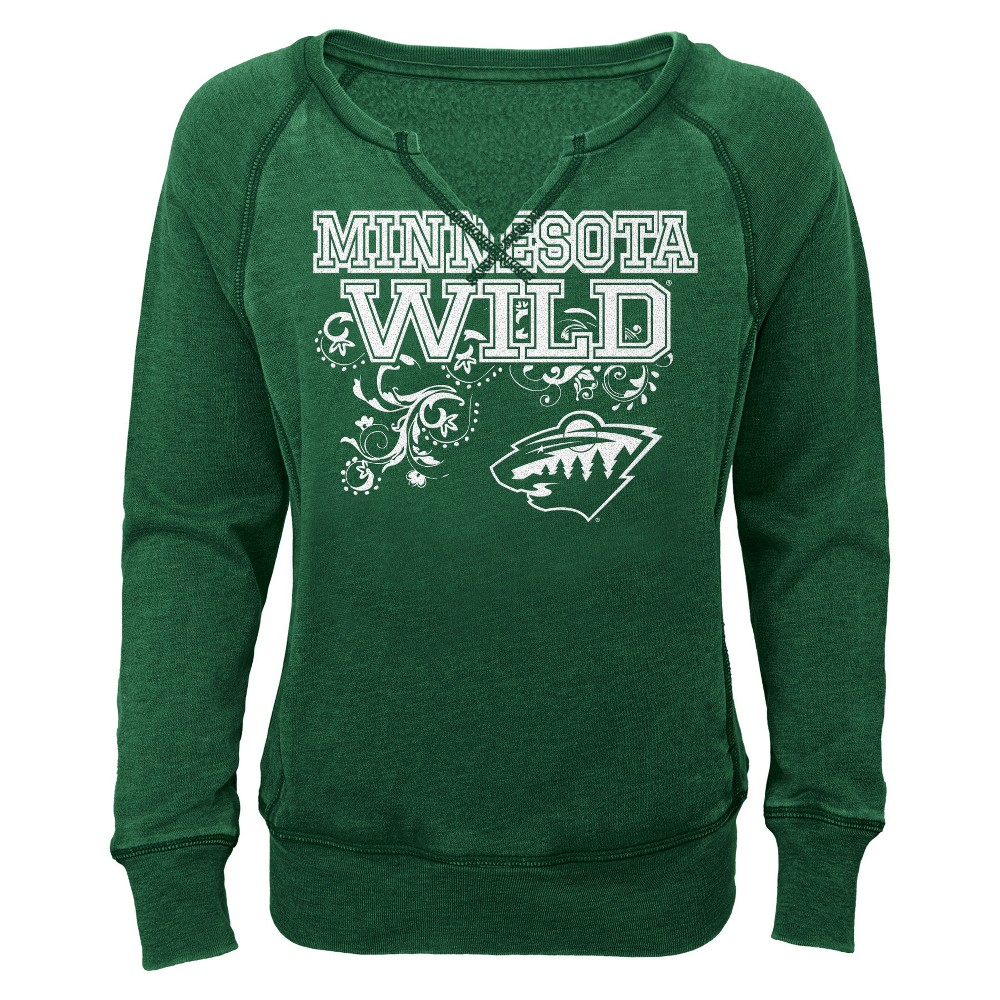 Minnesota Wild Girls' Open Neck Fleece Sweatshirt M