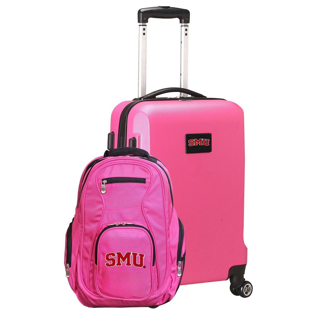 NCAA Smu Mustangs Deluxe 2pc Backpack & Carry-On Luggage Set - Pink