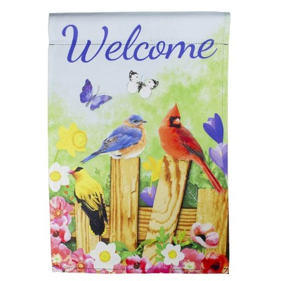 "Northlight Welcome Birds on a Fence Outdoor Garden Flag 12.5"" x 18"""