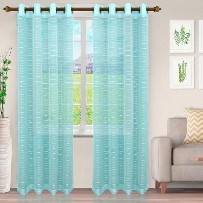Delicate Stripe Sheer Grommet Curtain Panel Set by Blue Nile Mills