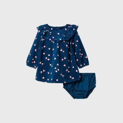 Baby Girls' Floral Ruffle Corduroy Dress - Cat & Jack™ Blue 6-9M